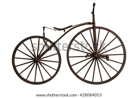 Close up photo classic, vintage, retro wooden styled bicycle isolate on white background with clip-path - stock photo