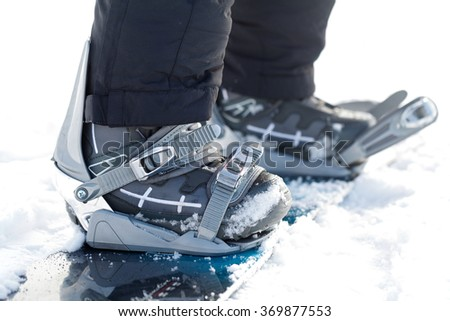 Close up photo of a snowboard - stock photo
