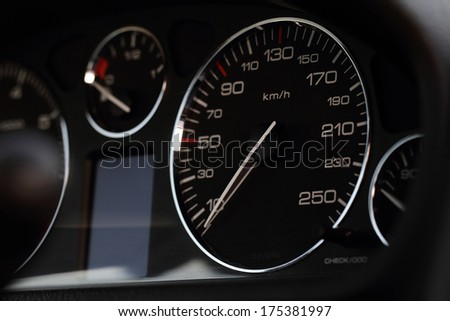 Close up photo of a speedometer hour  - stock photo