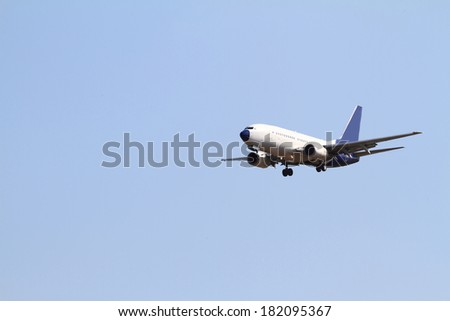 Close up photo of a wihte passenger air - stock photo