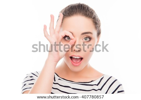 Close up photo of cheerful happy  girl with funny face - stock photo