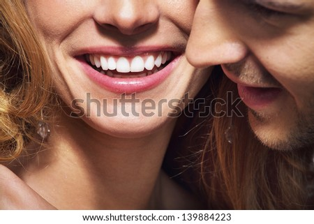 Close up photo of cheerful young couple - stock photo