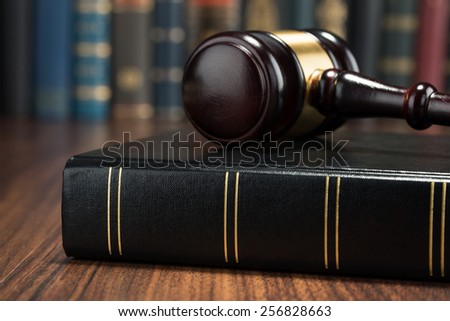 Close-up Photo Of Gavel And Law Book - stock photo