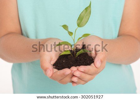 Close up photo of little girl holding green sprout in hands - stock photo