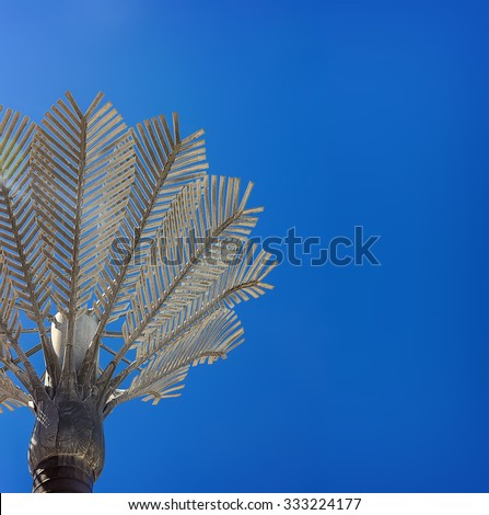 Close-up photo of nikau palm sculpture in Wellington, New Zealand - stock photo