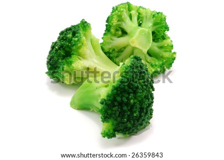 close-up photo of three green broccoli - stock photo