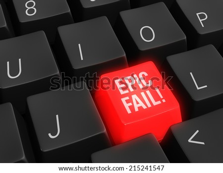 "Close up photo-real illustration of a black computer keyboard with a glowing red ""EPIC FAIL"" key. - stock photo"