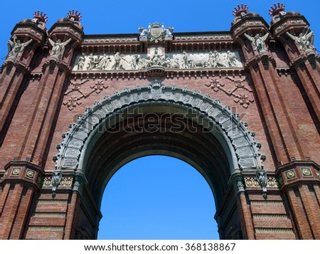 Close-up photograph of Barcelona Arc de Triomf during a hot summer day                    - stock photo
