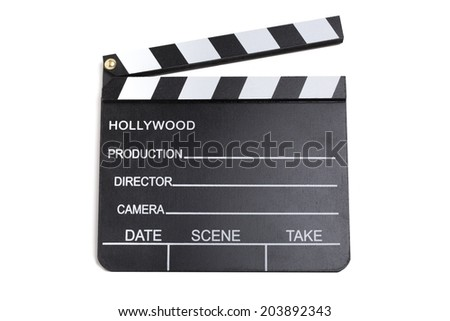 Close up picture of a clapperboard with white background - stock photo