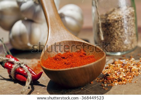 close up picture of a lot of red hot chilli peppers and spicy, g - stock photo