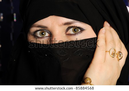Close up picture of a Muslim woman wearing a black veil - stock photo