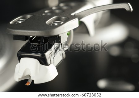 Close-up picture of a turntable stylus - stock photo