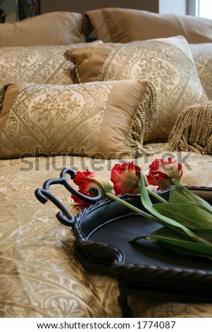 close up picture of bed made up real Fancy - stock photo