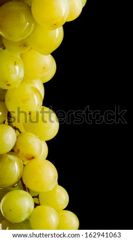 Close-up picture of bunch of white grapes with text space - stock photo