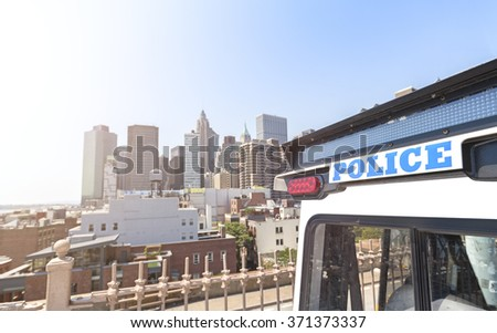 Close up picture of police vehicle lights in Manhattan, New York City, USA. - stock photo