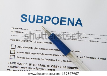 Close up picture of  Subpoena with pen. - stock photo