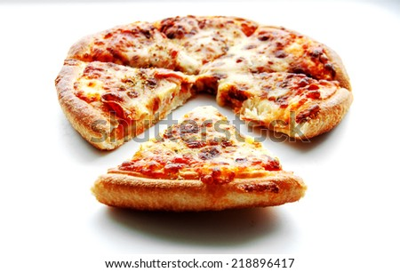 close up piece of peperoni pizza on white isolate - stock photo