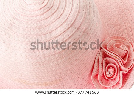Close up pink hat woman isolated on white background. - stock photo