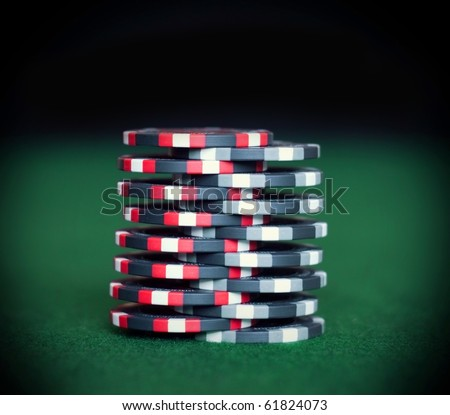 "Close up poker chips trick ""shuffle"" - stock photo"