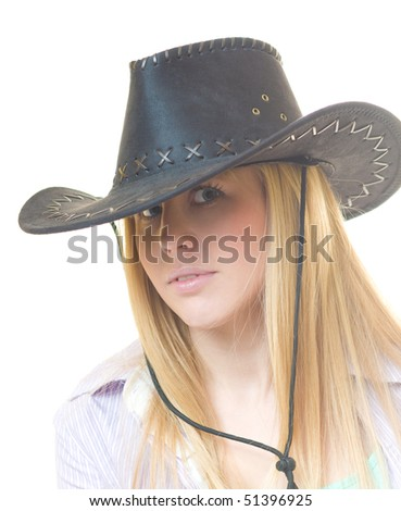 Close up portrait beauty cowgirl on isolated white background - stock photo