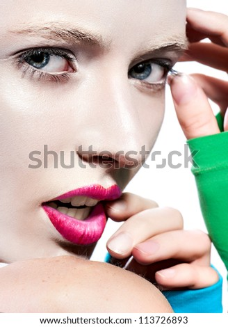 Close-up portrait beauty face blond women red lips color sexy looking white background - stock photo