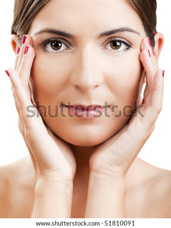 Close-up portrait of a beautiful and fresh woman isolated on white - stock photo