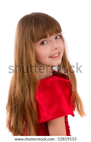 Close-up portrait of a beautiful blond girl. Little girl is wearing in red dress. - stock photo