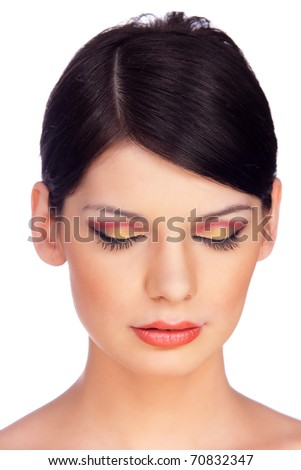 Close-up Portrait of a Beautiful Brunette Young Woman's Face.Eyes closed. Isolated on white - stock photo
