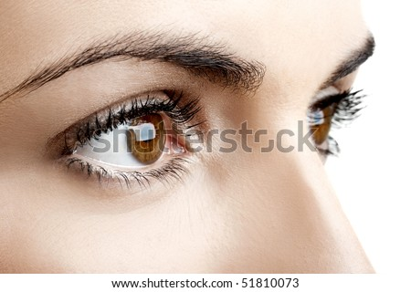 Close-up portrait of a beautiful female eyes - stock photo