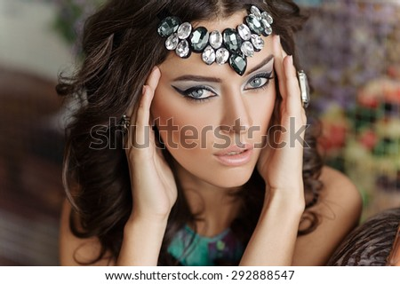close-up portrait of a beautiful girl - stock photo
