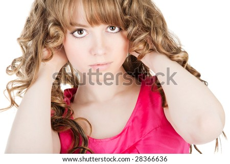 Close-up portrait of a beautiful teenager over white - stock photo