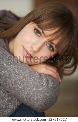 Close up portrait of a beautiful woman relaxing - stock photo