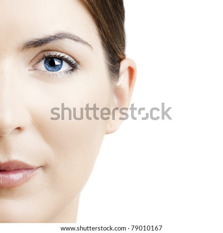 Close-up portrait of a beautiful young woman isolated on white background - stock photo