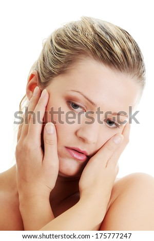 Close-up, portrait of a corpulent woman, isolated on white background  - stock photo