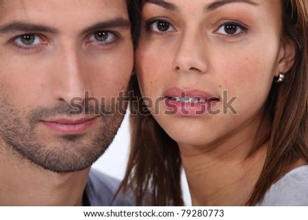 Close-up portrait of a couple - stock photo