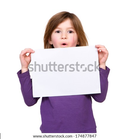 Close up portrait of a cute young girl holding blank poster sign on isolated white background - stock photo