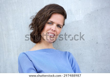 Close up portrait of a european woman in her thirties - stock photo