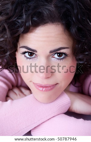 Close-up portrait of a fresh and beautiful young woman - stock photo