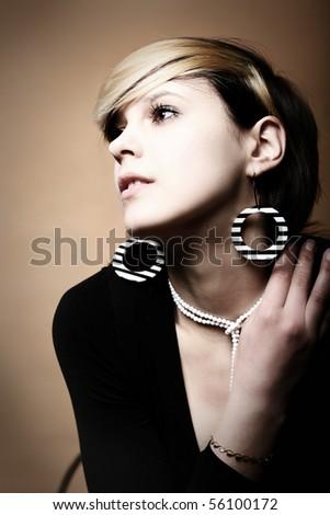 Close-up portrait of a fresh retro beautiful fashion mod - stock photo