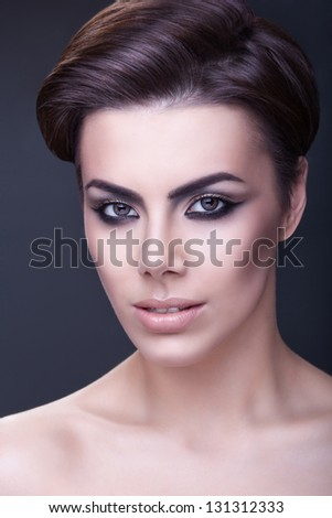 close-up portrait of a girl - stock photo