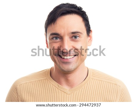 Close up portrait of a handsome guy with a smile on his face - stock photo