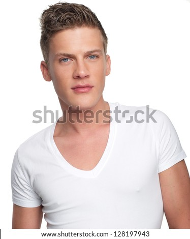 Close up portrait of a handsome young man isolated on white background - stock photo