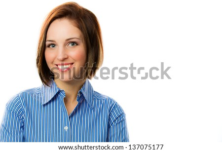 Close-up portrait of a happy adorable woman - stock photo