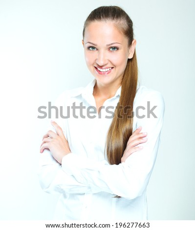 close-up portrait of a smiling and successful business woman. - stock photo