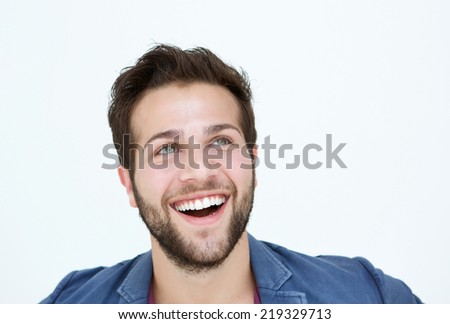 Close up portrait of a smiling man face on white background - stock photo