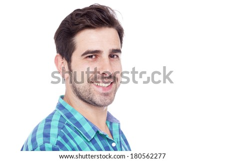 Close-up portrait of a smiling man, isolated on a white background  - stock photo