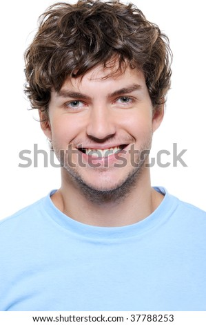 Close-up portrait of a smiling man with healthy teeth - stock photo