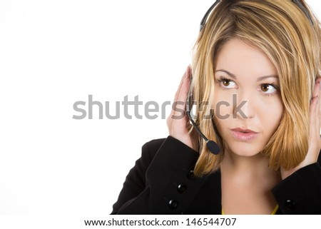 close-up portrait of a telemarketing woman wearing headset isolated on white background - stock photo