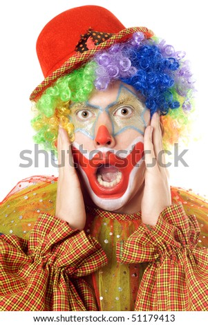 Close-up portrait of a terrified clown. Isolated on white - stock photo