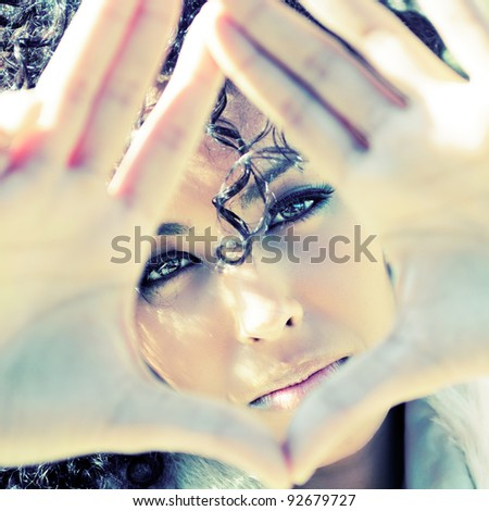 Close up portrait of a young african woman - stock photo